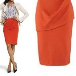 Cabi Pencil Skirt Orange Sz 10 Style 3099 Overlay